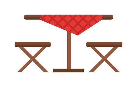 garden furniture: Camping table and chair vector set. Summer picnic leisure camping table and furniture empty camping table. Nature equipment vacation camping table and barbecue season camping table.