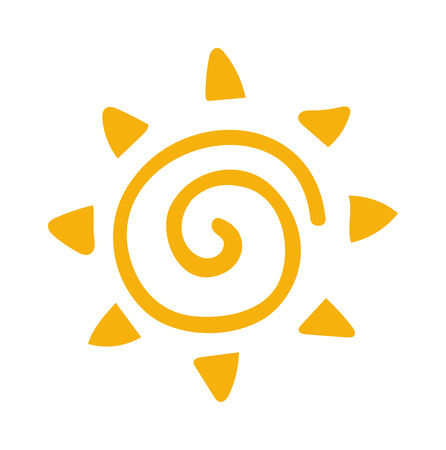 symbol icon: Vector sun icon isolated on white background. Sun Vector isolated, Sun summer icon design. Vector yellow sun symbol. Vector sun sun element. Sun icon on white, vector sun logo isolated. Vector sun Illustration