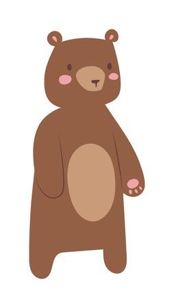 cute bear: Fun zoo cartoon bear and cartoon bear illustration. Cute cartoon brown bear character and wild cheerful cartoon bear animal vector. WIld forest animal grizzly cartoon bear. Cartoon bear design.