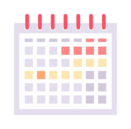 Calendar icon vector and calendar icon graphic reminder element message symbol. Calendar icon message template shape and office calendar icon appointment. Binder schedule calendar icon. Ilustração