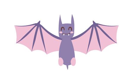 Bat cartoon vliegende vector illustratie en symbool cartoonknuppel wildlife zoogdier. bat cartoon spooky horror dier en mysterie grijs zwaaien cartoon vleermuis. Natuur vliegen cartoon schepsel vleermuis.