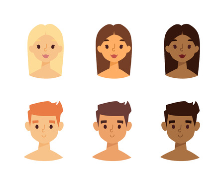 Vector set of women and men faces with skin tone from light to dark skin. Skin tone faces chart. Skin tone faces skincare foundation facial model face character. Attractive wellness healthy face.