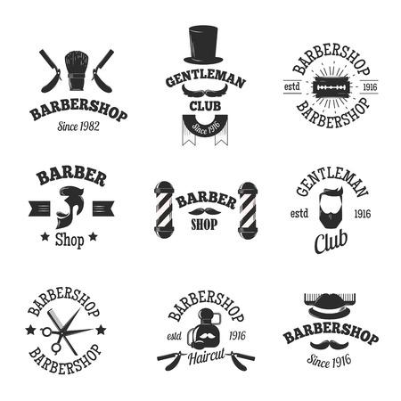 Jeu de coiffure cru boutique logo graphiques et coiffure boutiques logo icônes. Vector coiffeur badges logo set et salons de coiffure logo coiffure antique graphique de rasoir. Haircut vieux ciseaux timbre de salon Rasage.