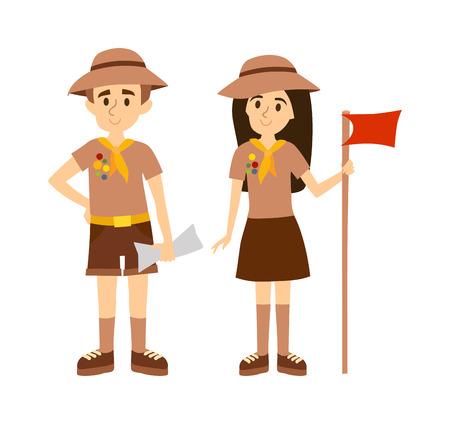 niño con mochila: Niños exploradores de camping aventura. Vector Los exploradores ilustración de dibujos animados plana y personas exploradoras turismo infancia. Senderismo recreación turística grupo de diseño. Boy Scout y Girl Scout. Vectores
