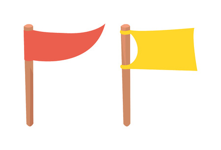 flagpole: Blank white flag isolated and flag isolated illustration on white background. Scout flag isolated and camping red flag isolated vector symbols. Red plain flagpole, yellow wavy motion flag design. Illustration