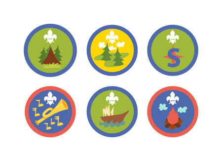 cartoon axe: Scout symbols and scout signs design camp elements. Outdoor scout signs mountain emblem and tent recreation label park scout signs. Expedition icon scout signs stamp campfire adventure.