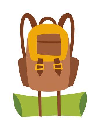 mochila de viaje: Vector plana moderna mochila de viaje que va de excursión con estilo y bolsa de exploración de montaña. Viajes de montaña explorar mochila y bolsa de viaje mochila turística. Mochila de viaje de montaña.