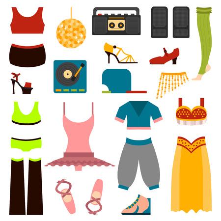 baile hip hop: diseño del vector de la mujer que realiza la ropa de danza clásica y ropa de baile popular. ropa de baile estilo de actuación maravillosa bailarina y ropa de danza tradicional ejercicio señora del vestido.