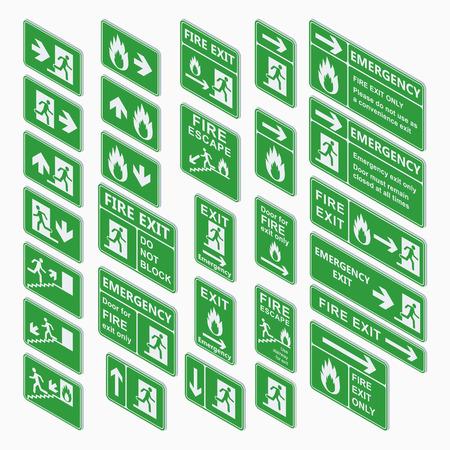 salida de emergencia: Conjunto de salida de emergencia signo isom�trica del vector. salida de incendios, salidas de emergencia, punto de reuni�n de incendios, evacuaci�n de carril de reingreso construcci�n de se�al de salida isom�trica. Salida de la muestra testigo verde isom�trico. Vectores