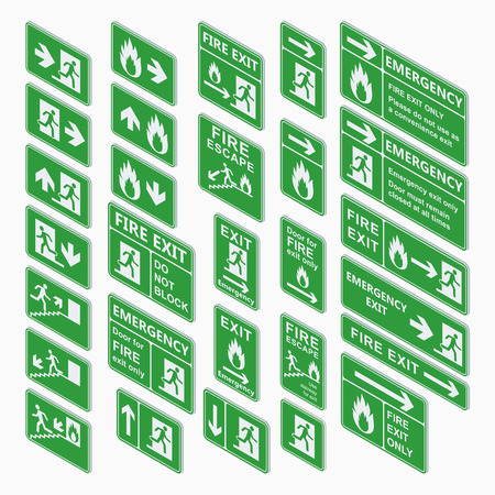 assembly point: Set of emergency exit isometric sign vector. Fire exit, emergency exit, fire assembly point, evacuation lane re-entry building isometric exit sign. Exit sign isometric green warning. Illustration