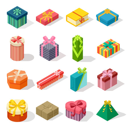 Isometric colored gift boxes and present isometric gift box set. Illustration isometric gift box celebration paper box and vector isometric gift box design. Isometric gift box collection. Vettoriali