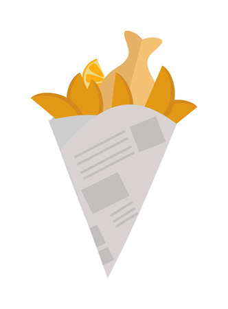 cooked: Fried potatoes fries in paper wrapper on white background. Vector illustration fried potatoes unhealthy food cooked junk. Fast food fried yellow potatoes restaurant chip prepared salty gold fries. Illustration