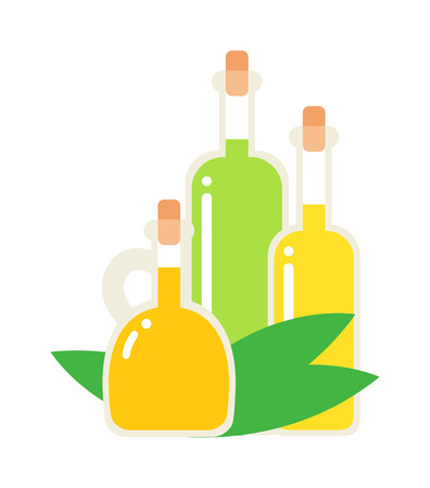 stopper: Small bottle of olive oil with cork stopper isolated. Vector oil bottle and olive oil bottle food ingredient healthy cooking. Diet fat yellow glass organic oil bottle and light virgin vegetarian oil.
