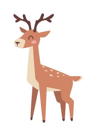 Cute cartoon deer cartoon running animal character vector, cheerful doodle animal. Cartoon deer christmas elk nature mascot and happiness little cartoon deer horned adorable doodle cute forest animal.
