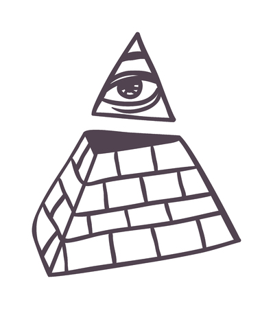 khafre: Egypt pyramid vector illustration Pyramid all seeing eye isolated on white background silhouette. All seeing eye in delta triangle. Pyramid and freemasonry icon, new world order emblem.