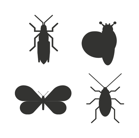 ladybird: Insect icons black silhouette flat set isolated on white background. flat icons vector illustration. Nature flying insects isolated icons. Ladybird, butterfl beetle vector ant. Illustration
