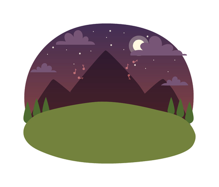 idyllic: Vector mountains and forest landscape in night. Beautiful geometric flat night landscape illustration. Night landscape astronomy way milky idyllic clear green grass. Summer moon space forest mountain. Illustration