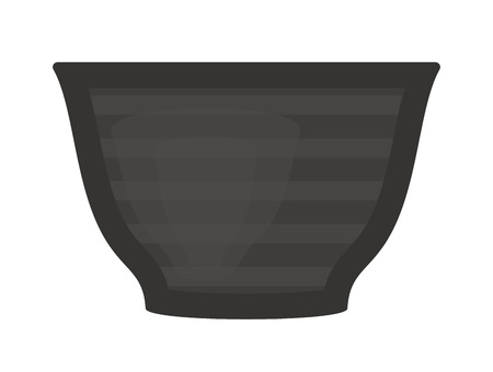 food plate: Black soup cup plate pot vector single cup breakfast food and ceramic flat soup cup. Black plate food beverage kitchen accessory flat vector. Black soup cup plate Illustration