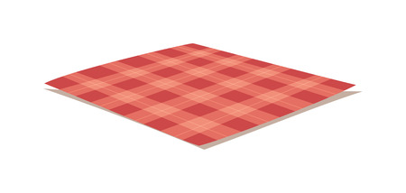 picnic cloth: Red folded tablecloth isolated on white. Tablecloth background red seamless pattern.Illustration of traditional gingham dining cloth with fabric texture. Checkered picnic cooking tablecloth.