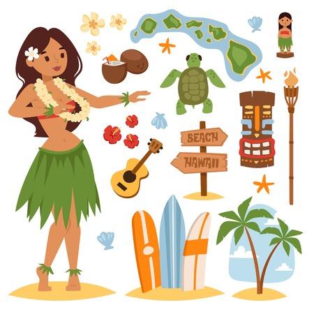 벡터 빈티지 하와이 아이콘 및 기호 집합입니다. 하와이 아름 다운 소녀 코코넛 칵테일 모래 해변입니다. 하와이 야자수 해변 기호. 빈티지 재미 태평 일러스트