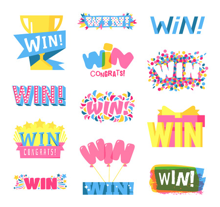 gamble: Win sign with colour confetti vector paper illustration. Success luck message contest promotion win text. Banner competition award lucky lottery word win text. Modern reward gamble champion set.