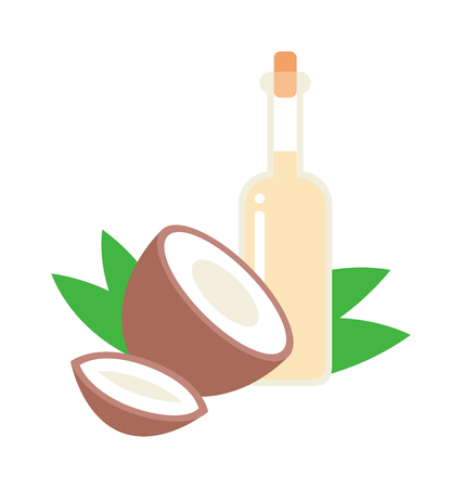 coco: Coconut oil vector illustration. Healthy brown half coconut and oil bottle tropical diet nutrition. Coconut oil cosmetic coco wellness therapy exotic treatment. Vitamin health fruit food. Illustration
