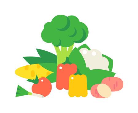 ensalada verde: set vector de celulosa de alimentos vegetales. Repollo, pimientos, tomates, zanahorias, celulosa gachas aislada en el fondo blanco. concepto de celulosa alimentos saludables. verduras de celulosa establecidos.