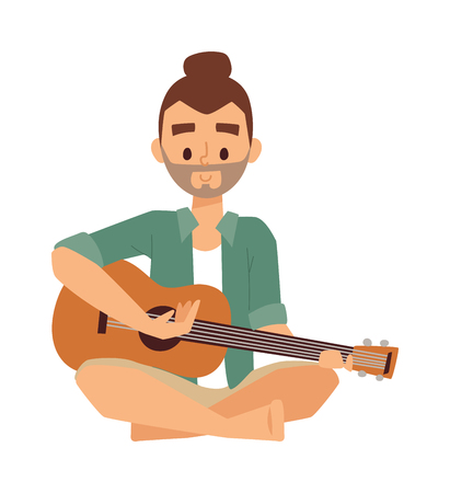 concert performance: Young man playing guitar and sings song vector illustration. Indoors leisure cute hipster man with guitar and sings song. Handsome man acoustic guitar concert performance music entertainment. Illustration
