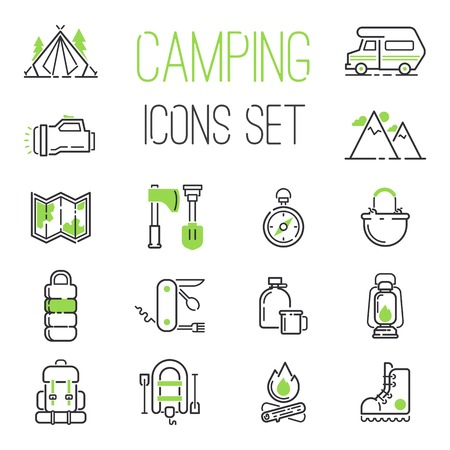 outdoor fire: Summer camping icon vector set. Folding knife inflatable boat, mountains camping icons. Camping icons compass travel campfire outdoor fire picnic summer leisure. Forest trailer tourism nature.