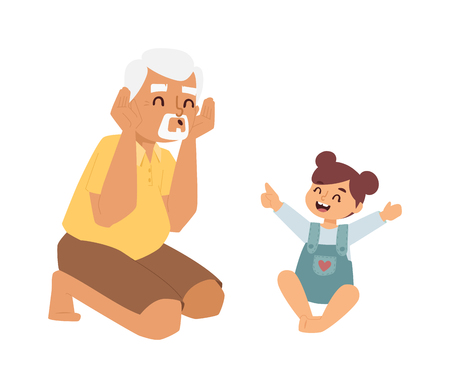 kid smile: Family playing game together at home. Enjoying time smile kid old granddaughter family games. Vector characters granddaughter and grandfather family indoors games happy concept leisure. Illustration