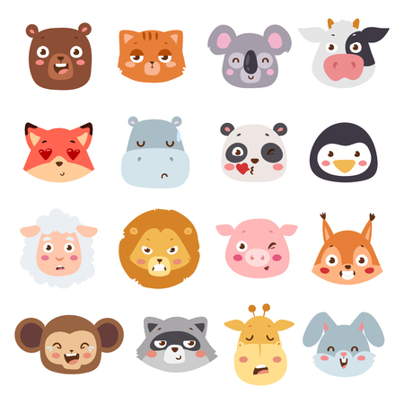 angry bear: Cute animal heads with emotions vector set. Cartoon happy animal emotions love expression isolated face character. Adorable mammal smile animal emotions. Animal characters little collection. Illustration