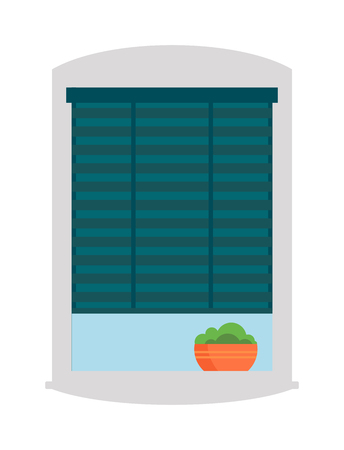 sill: House window vector isolated on white background. Window elements flat vector style. Vector window frames. Window icon on white, Window frame isolated with plant