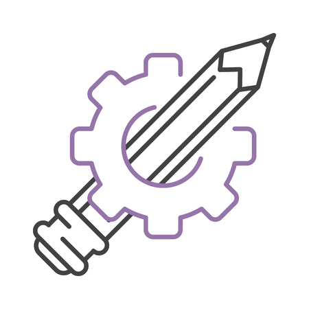writing equipment: Pen and gear icon drawing writing tools painter gear vector. Pen and gear icon equipment, art line pen and brush icon. Painter pen and gear icon graphic tools. Creativity sketch silhouette.