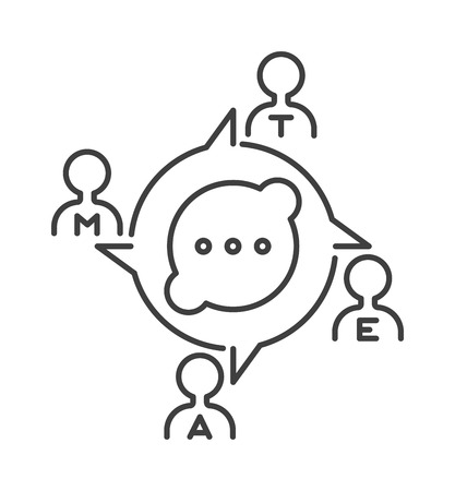 teambuilding: Teamwork business people teambuilding icon group communication concept symbol outline vector. Teambuilding icon group communication and teambuilding icon cooperation success. Teambuilding strategy