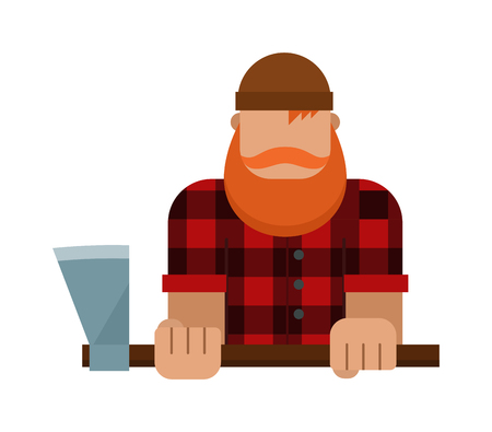 woodcutter: Woodcutter forest and strong woodcutter. Nature hipster muscular man with beard and mustache. Lumberjack, woodman, woodcutter an ax carpenter joiner, woodworker forest strong flat character vector.