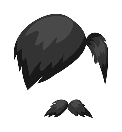 hair mask: Hairstyles beard and hair face cut mask flat cartoon icon. Vector mail beard hair illustration. Flat hair and beards fashion style. Hairstyle set, haircut icons