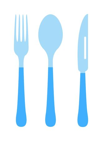 silverware: Silverware cutlery dinner dishware and kitchen cutlery silver tool. Cutlery equipment flatware dining tool. Cutlery set with fork, knife and spoon table restaurant silverware flat vector illustration. Illustration