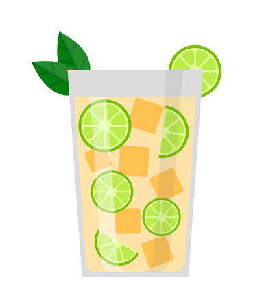 refreshing: Drink with lime, mint and ice. Cool mint leaf refreshing summer ingredient lime drink. Vector fresh lime drink cold ice cocktail tropical fresh citrus water. Alcohol sweet slice food lemonade.