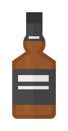 whisky bottle: Glass of scotch whiskey alcoholic beverage on white background. Whisky bottle cocktail liquor gold alcoholic beverage. Vector alcoholic beverage transparent rum strong variety brandy bottle. Illustration