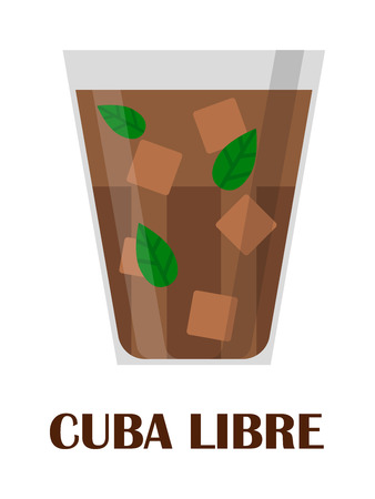 thirsty: Cuba libre drink with lime on white background. Cocktail rum drink ice cube glass cold cuba libre vector illustration. Cuba libre fresh alcohol, sweet ice cube freshness lemon. Cool liquor thirsty. Illustration