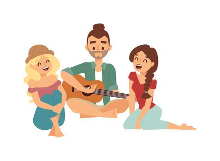 古い昔ながらのミニ ギターの曲でプレイ愛好家のロマンチックなカップルは。彼氏とガール フレンドの愛顔の懐かしいレトロなギター曲のコンセプ  イラスト・ベクター素材