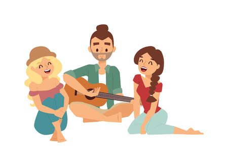young men: Romantic couple of lovers playing on old fashioned mini guitar song. Nostalgic retro guitar song concept of love faces of boyfriend and girlfriend. Guitar song musician classic play rock musical melody. Illustration