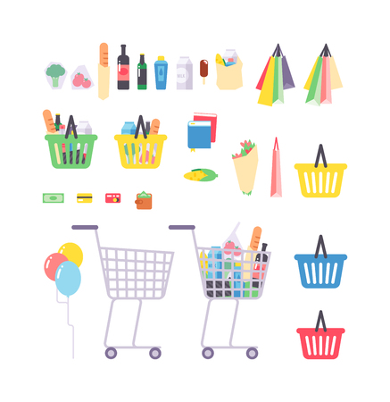 Full shopping basket with products isolated on white. Supermarket products Supermarket products