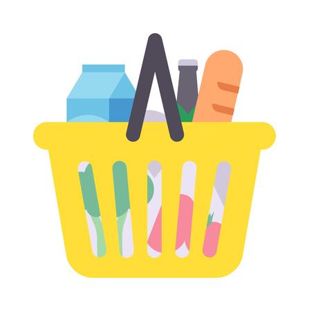 shopping icons: Shopping basket full of healthy organic fresh and natural food. Flat vector shop product basket icon. Shop product basket retail store shopping supermarket plastic handle basket.