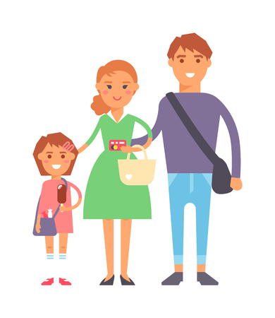 young woman smiling: Happy family with shopping bags standing over white background. Shopping family happy mother father casual lifestyle. Cheerful shopping family young woman smiling purchase vector characters. Illustration