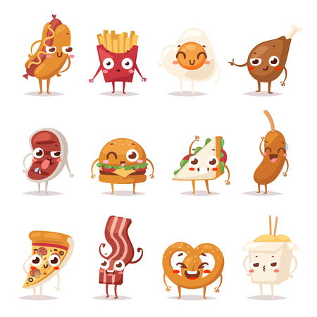 bacon and eggs: Fast food colorful emoticon face flat design icons set. Emoticon fast food funny elements vector character. Different emotions collection fast food characters smile fun unhealthy steak bacon.