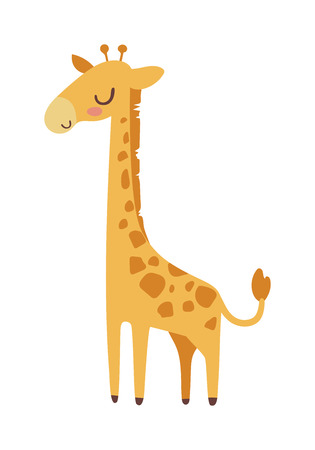 horned: Cute giraffe cartoon vector illustration. Wild mammal safari giraffe slim neck zoo animal. Vector giraffe savanna portrait wilderness beautiful horned animal. Tropical mammal standing with long neck.