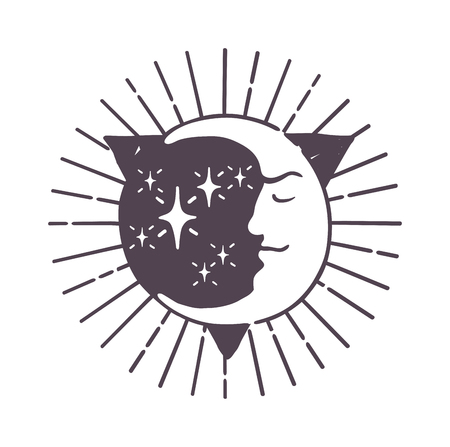 dipole: Moon logo design space symbol illustration. Creative moon logo abstract design sign star circle astronomy symbol. Galaxy science planet template night logo. Full moon light satellite.