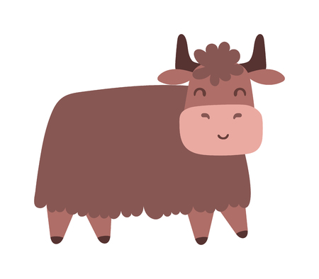 male animal: Quality brown bull vector silhouettes standing and ready to charge. Bull corrida cow ranch mascot male animal, run horn. Bull domestic danger mascot, angry strong farm animal.