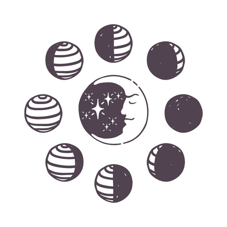 penumbra: Moon phases moonlight dark new gibbous universe bright. Minimal moon phases flat vector illustration. Moon phases night space astronomy and nature moon phases sphere shadow quarter orbit.